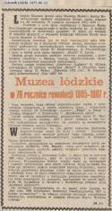 Muzea łódzkie w 70 rocznicę rewolucji 1905-1907 r.