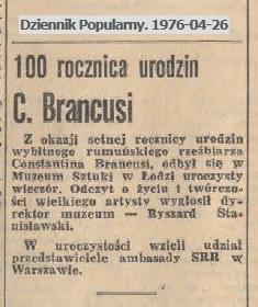 100 rocznica urodzin C. Brancusi