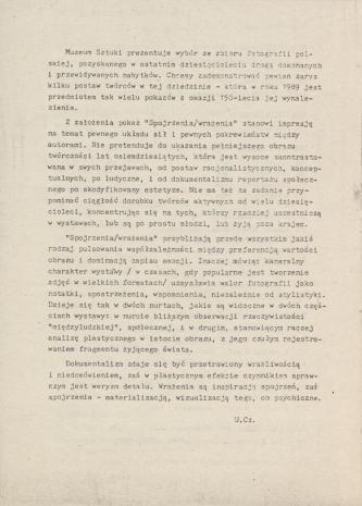 [Informator] Spojrzenia/ wrażenia. Fotografia polska lat osiemdziesiątych ze zbiorów Muzeum Sztuki w Łodzi [...]
