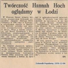 Twórczość Hannah Hoch oglądamy w Łodzi