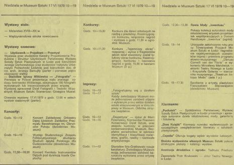 [Folder/Ulotka] Muzeum Sztuki w Łodzi [...] zaprasza na Niedzielę w Muzeum Sztuki [...]