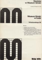 [Folder/Ulotka] Niedziela w Muzeum Sztuki 4 czerwca 1978 godz. 10 - 19.30 [...]