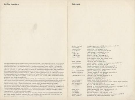 [Folder/Katalog] Współczesna grafika japońska w zbiorach Muzeum Sztuki w Łodzi [...]
