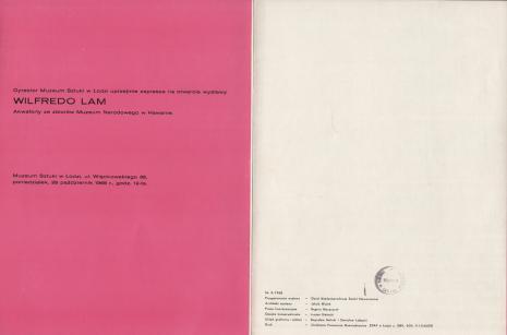 [Folder/Katalog] Wlfredo Lam. Akwaforty ze zbiorów Muzeum Narodowego w Hawanie [...]
