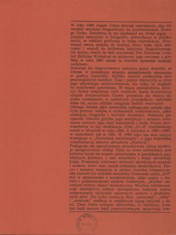 [Folder/Katalog] Jasper Johns. Litografie [...]