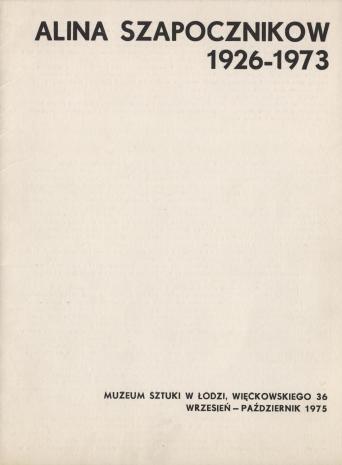 [Folder/Katalog] Alina Szapocznikow 1926-1973 [...]