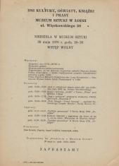[Ulotka] Niedziela w Muzeum Sztuki 30 maja 1976 [...]