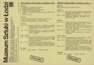 [Ulotka] Muzeum Sztuki w Łodzi zaprasza 4 czerwca 1977 w godz. 11-19 na