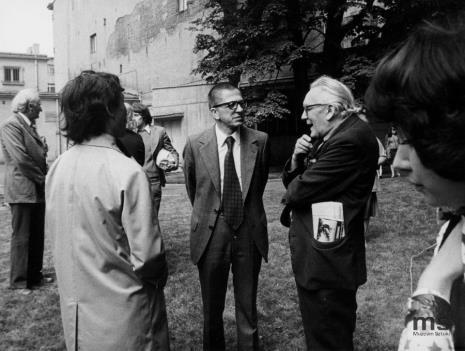 Od lewej (bokiem) Koji Kamoji, dyr. Ryszard Stanisławski, Alfred Lenica