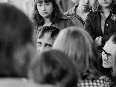 Lekcja dla uczniów XXIX LO w Łodzi prowadzona przez Tadeusza Kantora