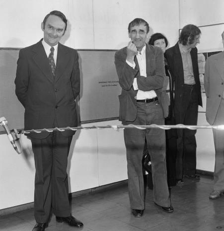 Włodzimierz Pośpiech (kierownik Wydziału Kultury i Sztuki RN m. Łodzi), Tadeusz Kantor, x, Zbigniew Gostomski