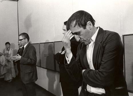 Od lewej Maria Stangret-Kantor, Ryszard Brudzyński (wicedyrektor ms), dyr. Ryszard Stanisławski, Włodzimierz Pośpiech (kierownik Wydziału Kultury i Sztuki RN m. Łodzi), Tadeusz Kantor