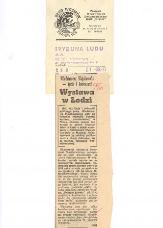 Włodzimierz Majakowski - życie i twórczość. Wystawa w Łodzi