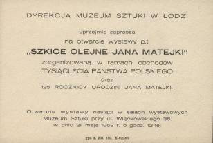 [Zaproszenie] Szkice olejne Jana Matejki [...]