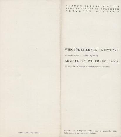 [Ulotka] Wieczór literacko-muzyczny zorganizowany z okazji wystawy akwaforty Wilfredo Lama ze zbiorów Muzeum Narodowego w Hawanie [...]