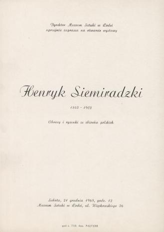 [Zaproszenie] Henryk Siemiradzki 1843-1902. Obrazy i rysunki ze zbiorów polskich [...]