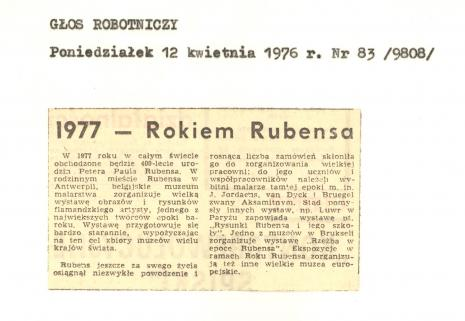 1977 - Rokiem Rubensa