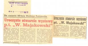 Dla uczczenia 60-lecia Wielkiego Października. Uroczyste otwarcie wystawy pt.