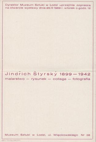 [Zaproszenie] Jindrich Styrsky  1899 - 1942 malarstwo - rysunek - collage - fotografia[...]