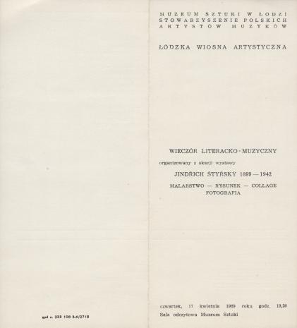 [Ulotka/Program] Wieczór literacko-muzyczny organizowany z okazji wystawy Jindrich Styrsky 1899-1942 [...]