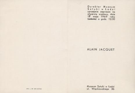 [Zaproszenie] Alain Jacquet [...]
