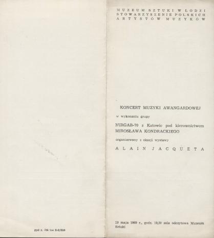 [Ulotka/Program] Koncert muzyki awangardowej [...] organizowany z okazji wystawy Alaina Jacqueta [...]