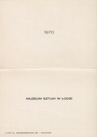 [Druk promocyjny]  Muzeum Sztuki w Łodzi 1970 [...]