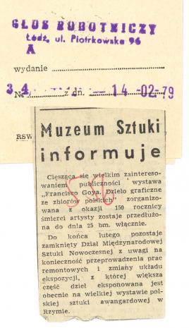 Muzeum Sztuki informuje