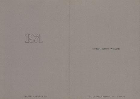 [Druk promocyjny]  Muzeum Sztuki w Łodzi 1971 [...]