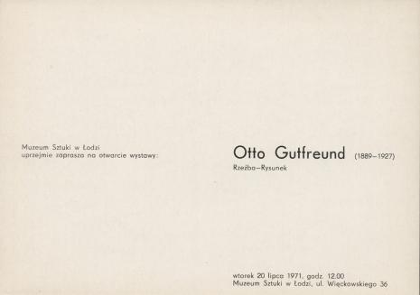 [Zaproszenie] Otto Gutfreund (1889-1927) Rzeźba-Rysunek [...]
