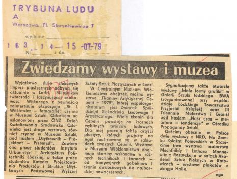 Wyjątkowo dużo ciekawych imprez plastycznych odbywa się aktualnie w Łodzi [...]