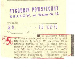 W Muzeum Sztuki w Łodzi czynna jest wystawa fotografii Stanisława Ignacego Witkiewicza