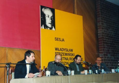 Od lewej Kazimierz Piotrowski (Muzeum Narodowe w Warszawie), dr Janusz Zagrodzki (Muzeum Narodowe w  Warszawie), dr Piotr Piotrowski, dyr. Jaromir Jedliński (ms)