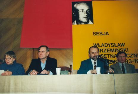 Od lewej Janina Ładnowska (Dział Sztuki Nowoczesnej), Józef Robakowski, Zygmunt Krauze