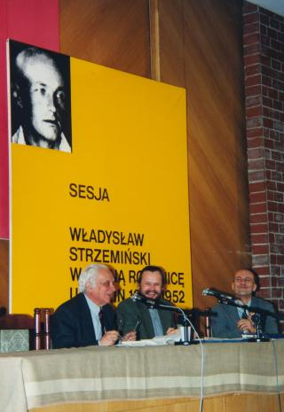 Prof. Mieczysław Porębski, dr Piotr Piotrowski, dyr. Jaromir Jedliński (ms)