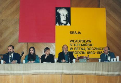 Od lewej Grzegorz Sztabiński (PWSSP w Łodzi), tłumaczka, Olga Szichiriewa (Sankt Petersburg), prof. Andrzej Turowski (Uniwersytet w Djion), dyr. Jaromir Jedliński (ms)