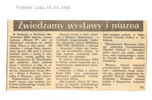 W Krakowie w Pawilonie Wystawowym BWA otwarta została wystawa [...]