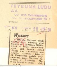W łódzkim Muzeum Sztuki czynna jest wystawa dzieł Stanisława Ignacego Witkiewicza