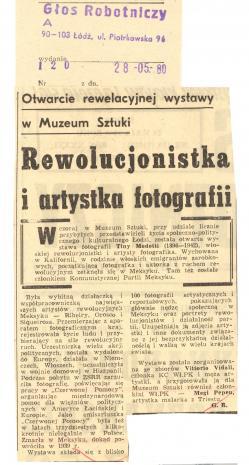 Otwarcie rewelacyjnej wystawy w Muzeum Sztuki. Rewolucjonistka i artystka fotografii