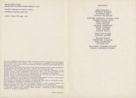 [Folder/Katalog] Architektura austriacka 1960-1970 [...]