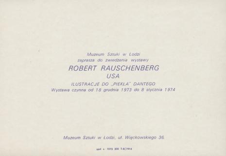 Zaproszenie Robert Rauschenberg Usa Ilustracje Do Piekła