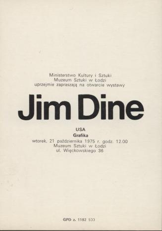 Zaproszenie Jim Dine Usa Grafika