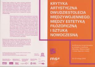 [Zaproszenie/Program] Krytyka artystyczna dwudziestolecia wojennego. Między estetyką filozoficzną i sztuką nowoczesną [...]