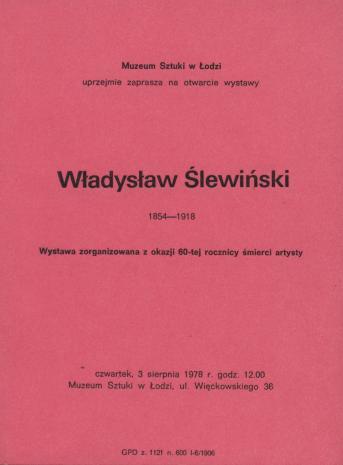 [Zaproszenie] Władysław Ślewiński 1854-1918 [...]