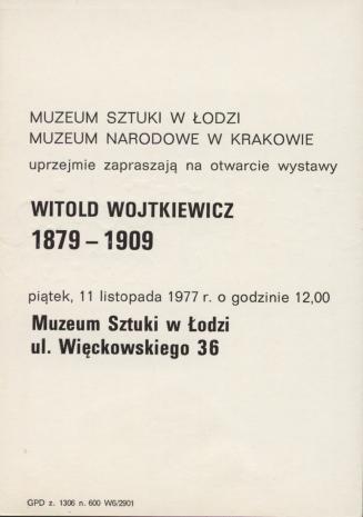 [Zaproszenie] Witold Wojtkiewicz 1879-1909.
