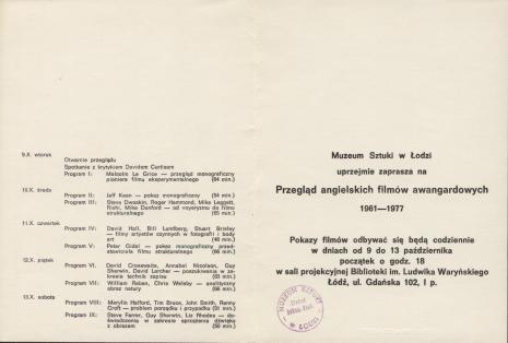 [Zaproszenie/Program] Przegląd angielskich filmów awangardowych 1961-1977.