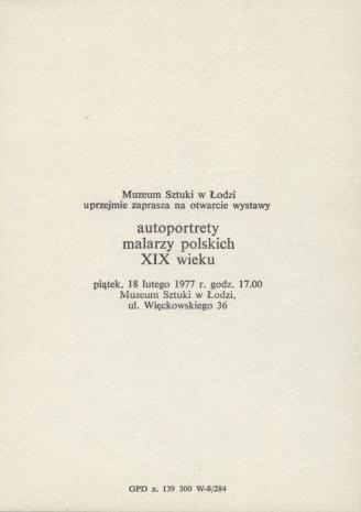 [Zaproszenie] Autoportrety malarzy polskich XIX wieku.