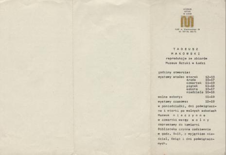 [Informator/Folder] Tadeusz Makowski reprodukcje ze zbiorów Muzeum Sztuki w Łodzi