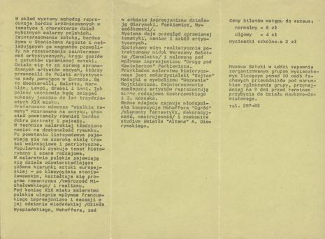 [Informator/Folder] Malarstwo polskie XVIII i XIX w. wystawa reprodukcji ze zbiorów Muzeum Sztuki w Łodzi