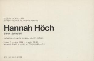 [Zaproszenie] Hannah Hoch [...] malarstwo, akwarele, gwasze, rysunki, collages.